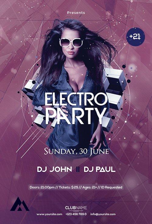Electro Party - Premium flyer psd template