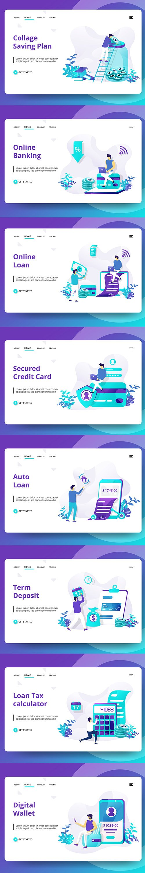Credit And Loan Landing page Vector template vol 2