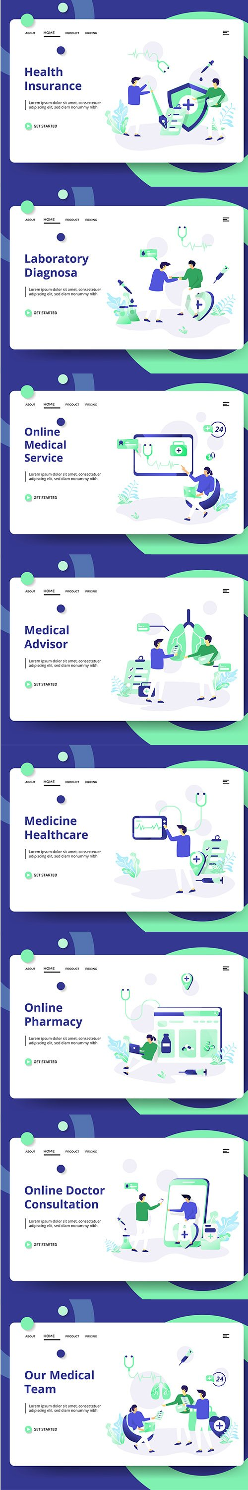 Medical And Health set Vector Illustration vol 1