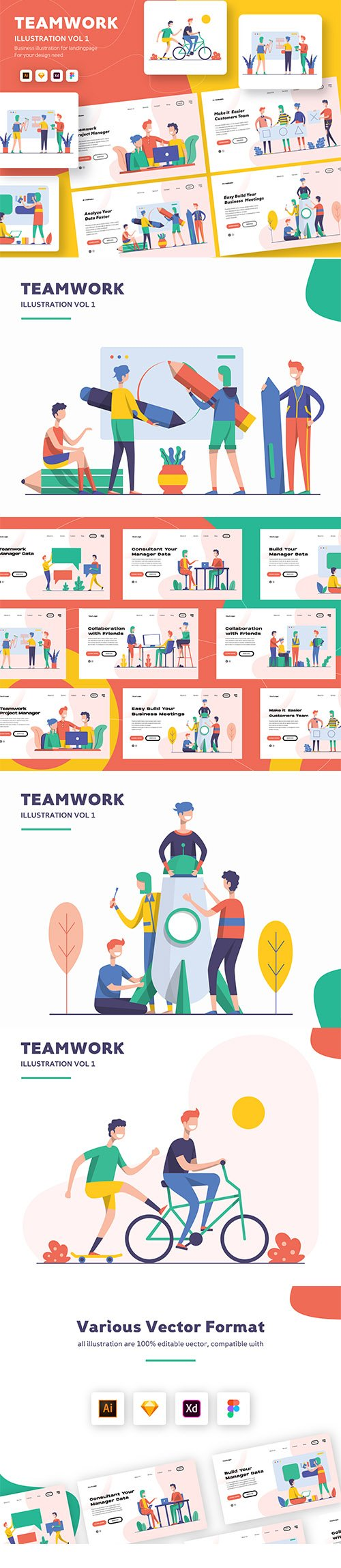 Vector Illustration Startup Teamwork Pack Vol.1