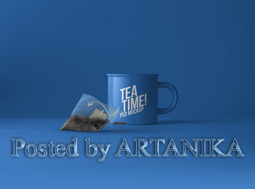 Tea Cup with Tea Bag Mockup