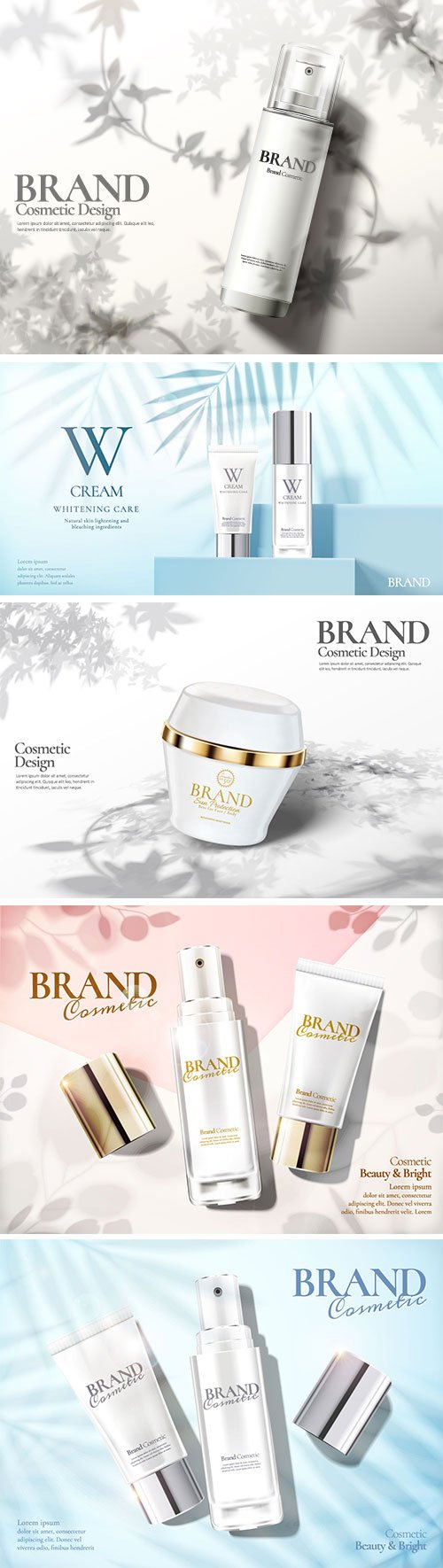 Skin care set ads vector illustration template