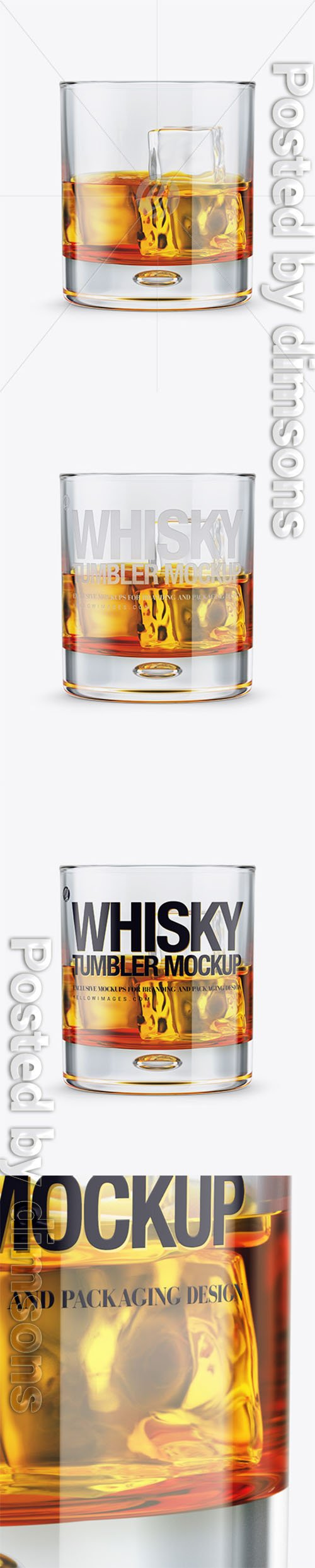 Whisky Tumbler Glass w/ Ice Cubes Mockup 22459 TIF
