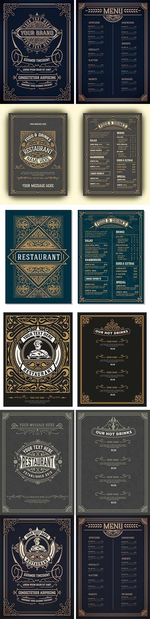 Vintage template for restaurant menu design with Chef