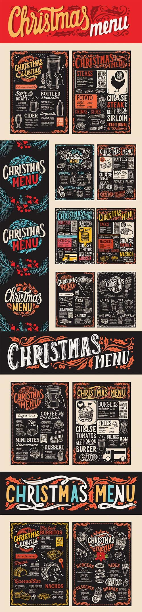 Christmas menu food template for restaurant with doodle