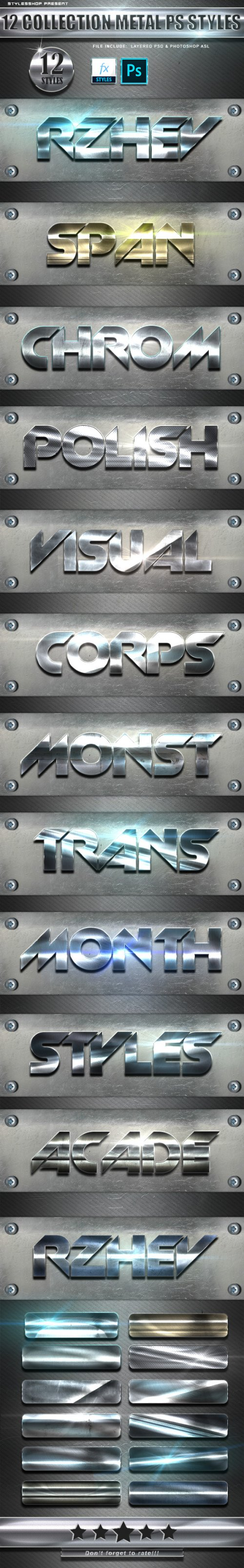 GraphicRiver - 12 Collection Metal Photoshop Text Styles Vol 3 24783635