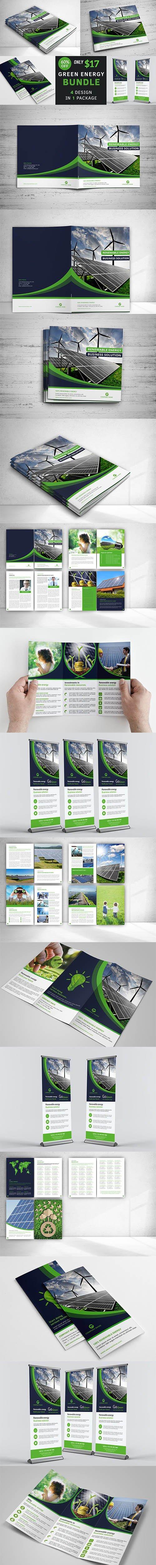 CreativeMarket - Renewable Energy Brochure Bundle 4212104