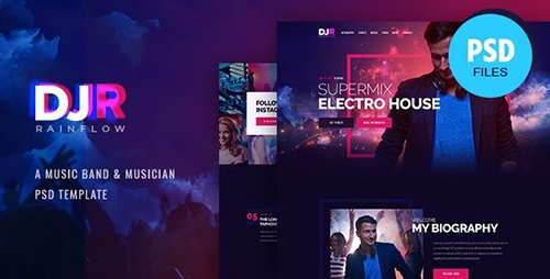 DJ Rainflow | Music Band & Musician PSD Template 24922111