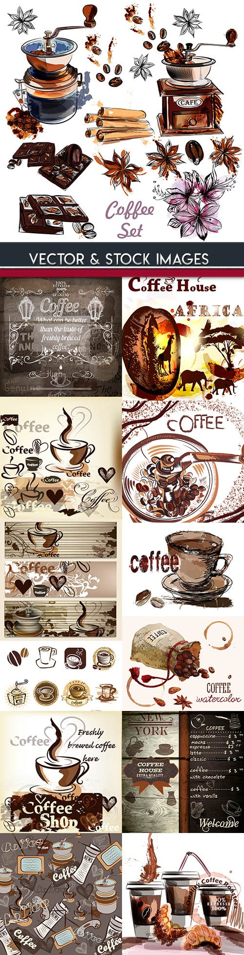 Fragrant Coffee beans vintage classic background