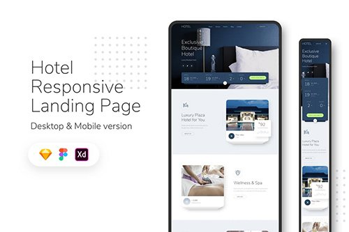 Hotel Responsive Landing Page Sketch and Adobe XD