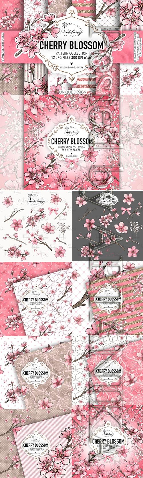 Cherry Blossom digital paper pack and Illustration Collection