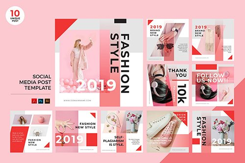 Pink Fashion Style Social Media Kit PSD & AI