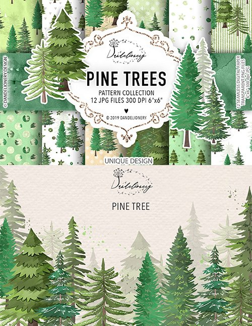 Pine trees cliparts and Digital paper pack