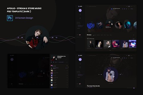 Stream & Store Music PSD and XD Template