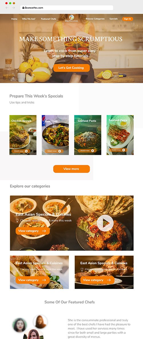 Recipe Single Page Landing UI Kit