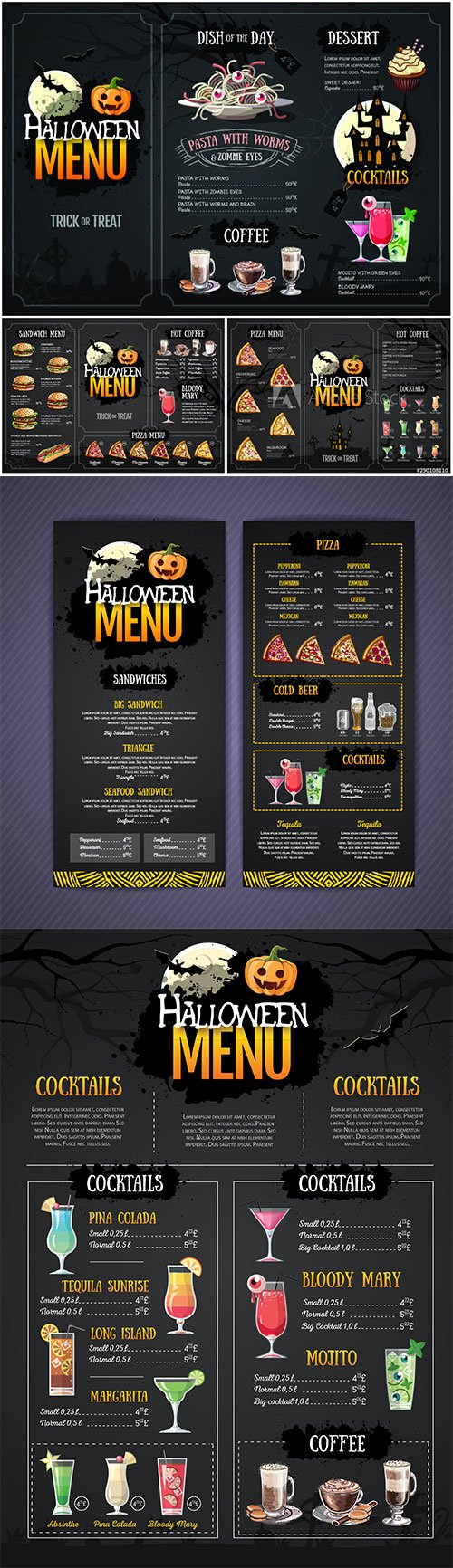 Halloween menu design with jack o lantern, Restaurant menu