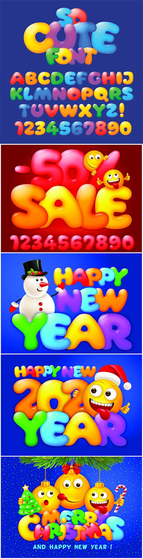 Vector set of multicolored and cheerful cartoon letters and numbers