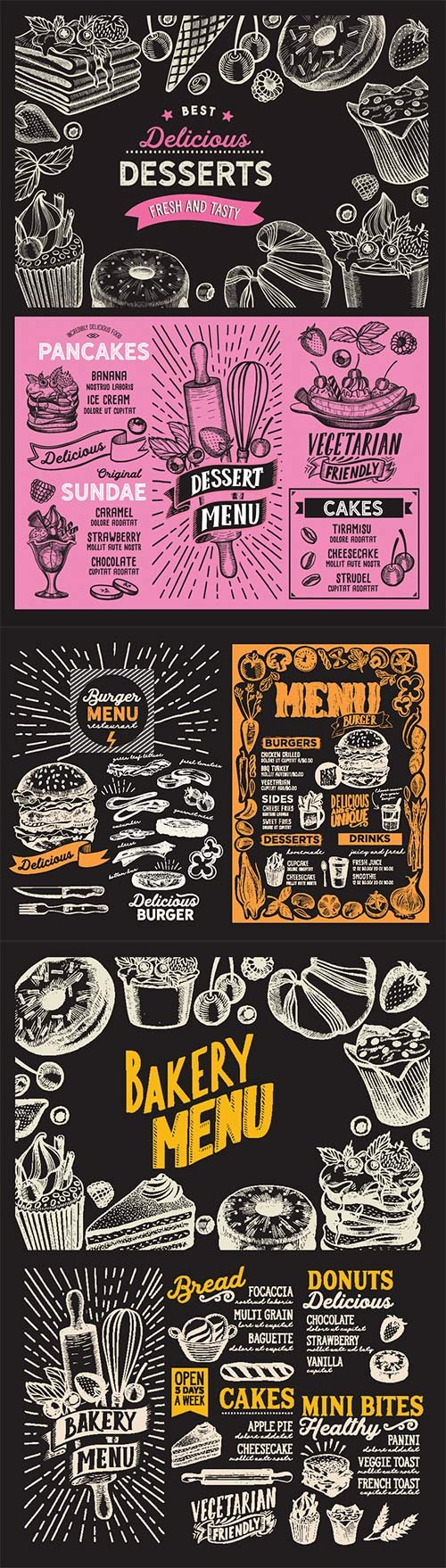 Menu food template for restaurant with doodle hand-drawn graphic