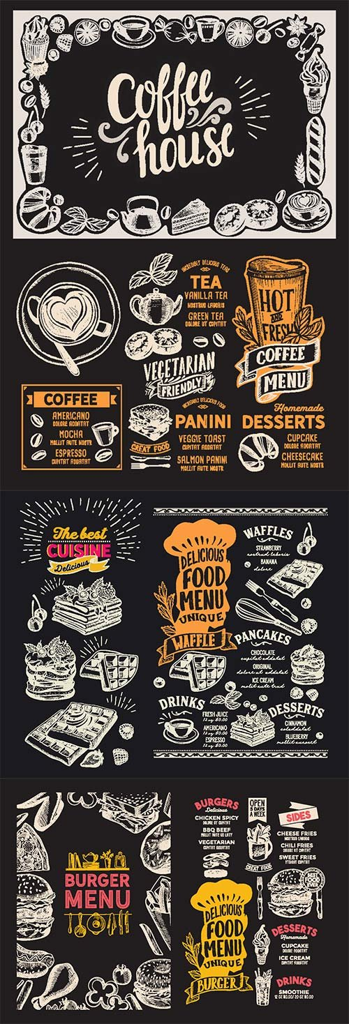 Menu food template for restaurant with doodle hand-drawn graphic # 2