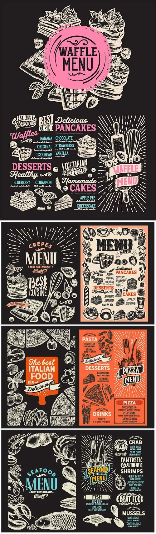 Menu food template for restaurant with doodle hand-drawn graphic # 3
