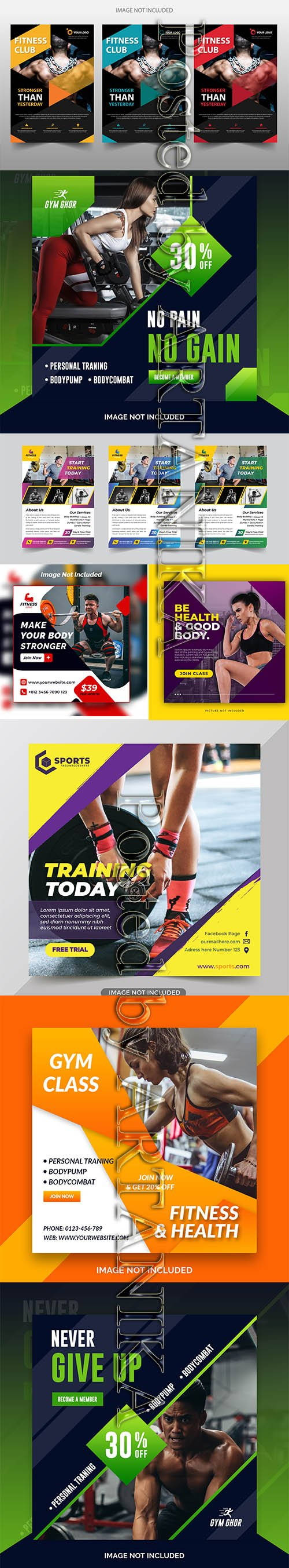 Modern Gym Flyer and Fitness Social Media Post Template Vol 2