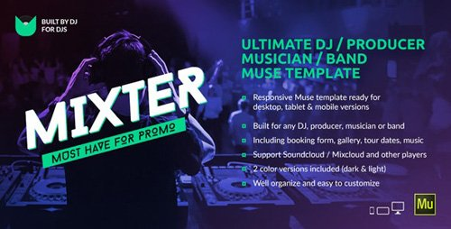 ThemeForest - Mixter v1.01 - Ultimate DJ / Producer / Musician / Band Website Muse Template - 15021903