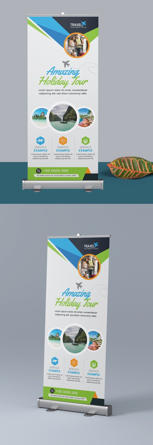 Roll Up Banner Layout with Blue and Green Elements 298079041