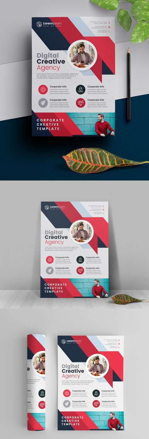 Red Abstract Flyer Layout 295382667