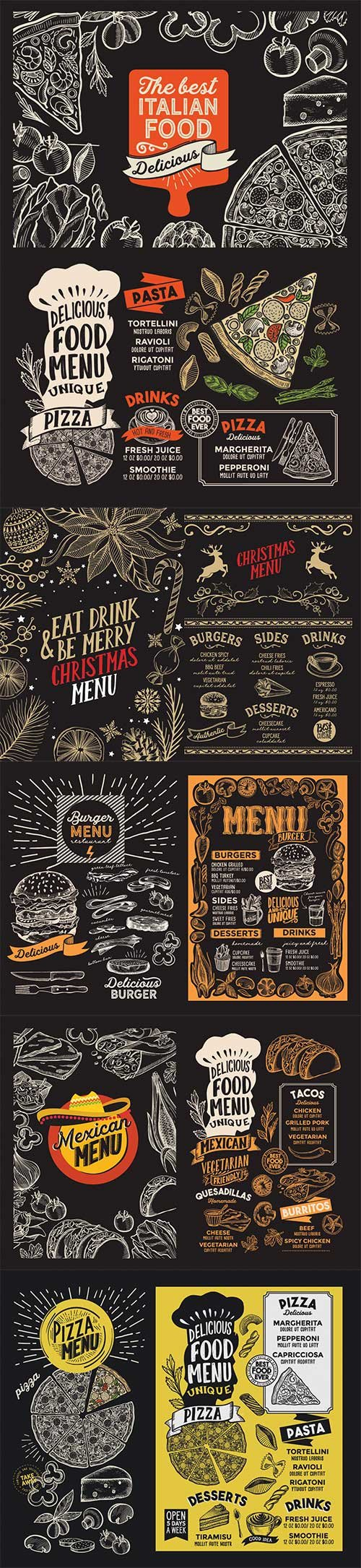 Menu food template for restaurant with doodle hand-drawn