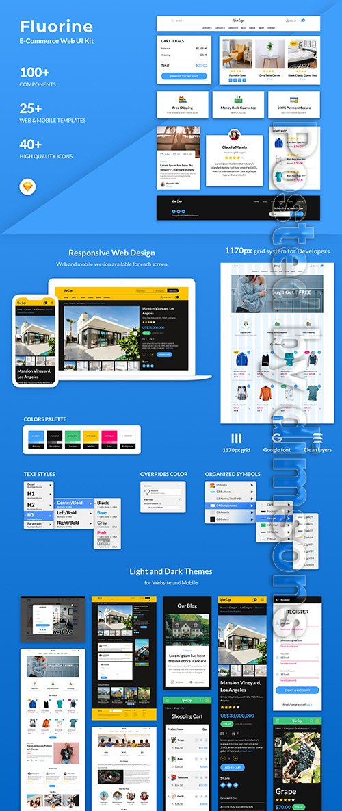 Fluorine | eCommerce Responsive Web UI Kit for Sketch