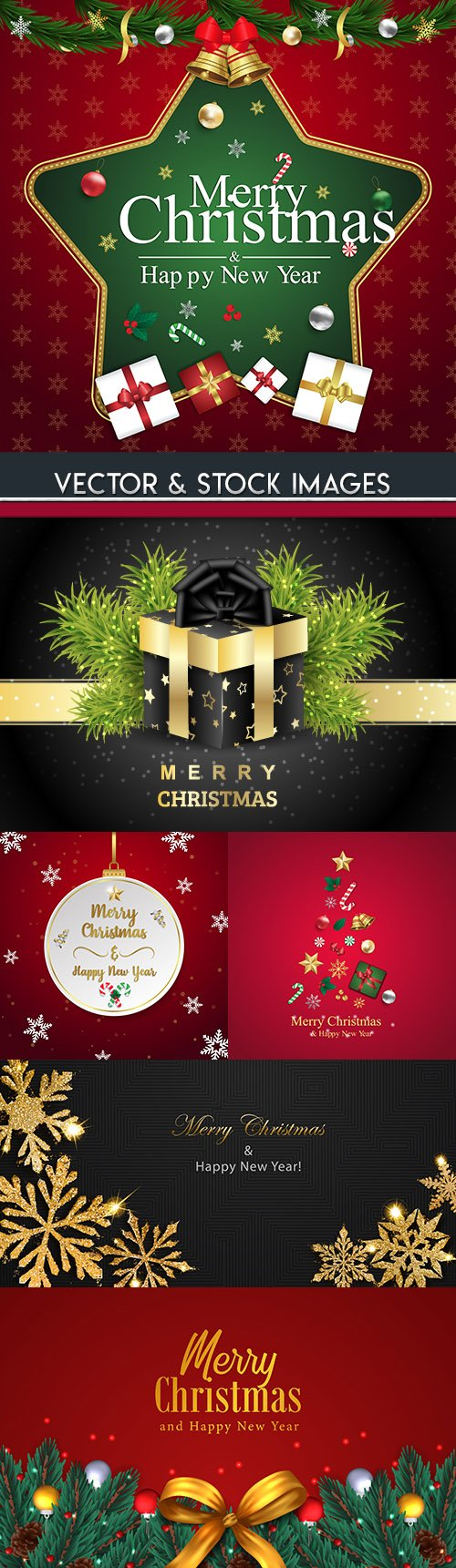 Merry Christmas and New Year background decorative 12