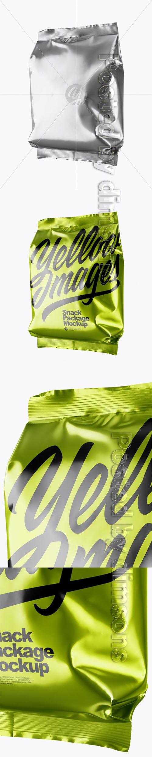 Metallic Snack Package Mockup - Half Side View 27560 TIF