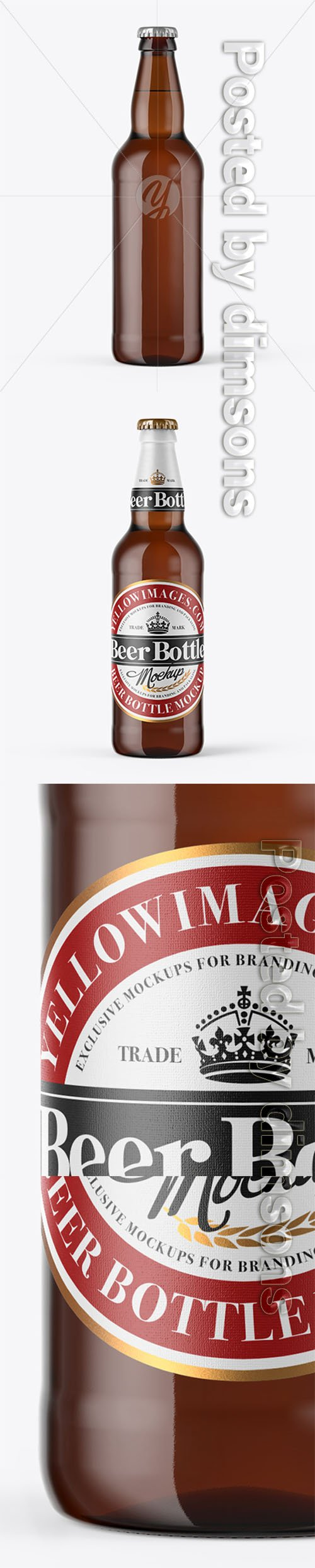 500ml Amber Craft Beer Bottle Mockup 23173 TIF