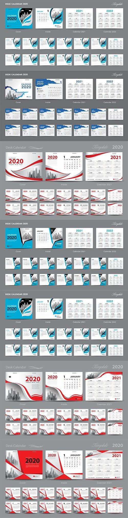 Set Desk Calendar 2019 template design vector
