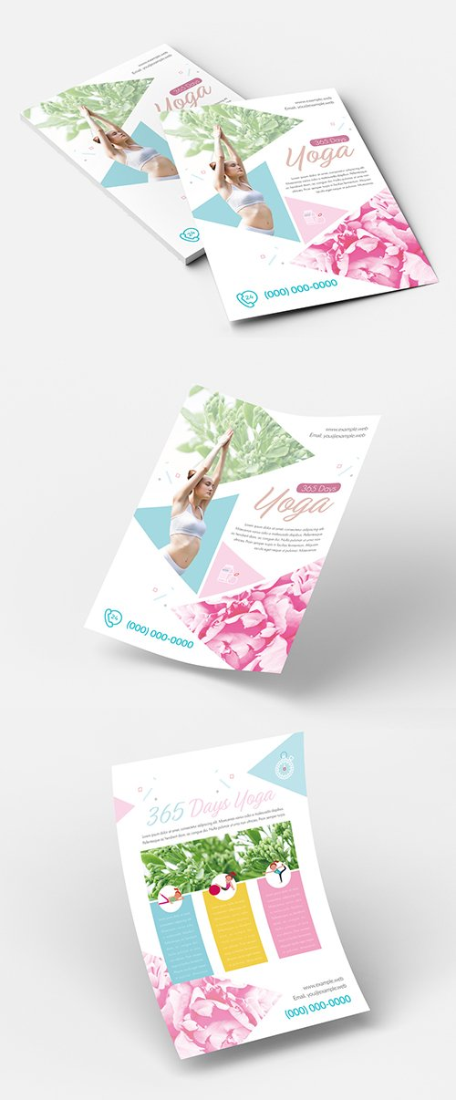 Yoga Flyer Layout with Triangle Elements 213693740 INDT