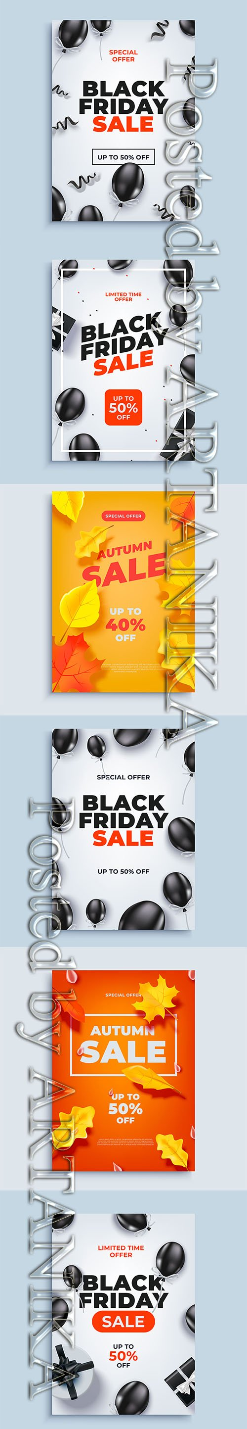 Black Friday and Autumn Sale Banner Background with Baloons