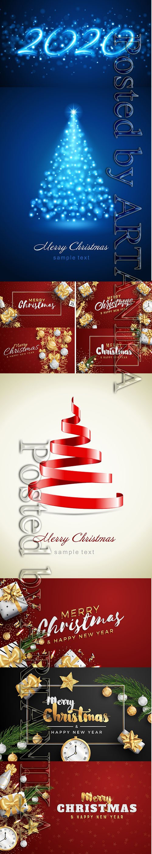 Merry Christmas and New Year Banner Template Vector Illustrations