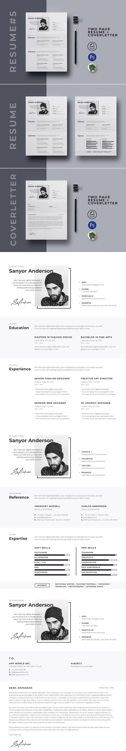 Two-Pages Resume/CV + Cover Letter PSD Templates V5