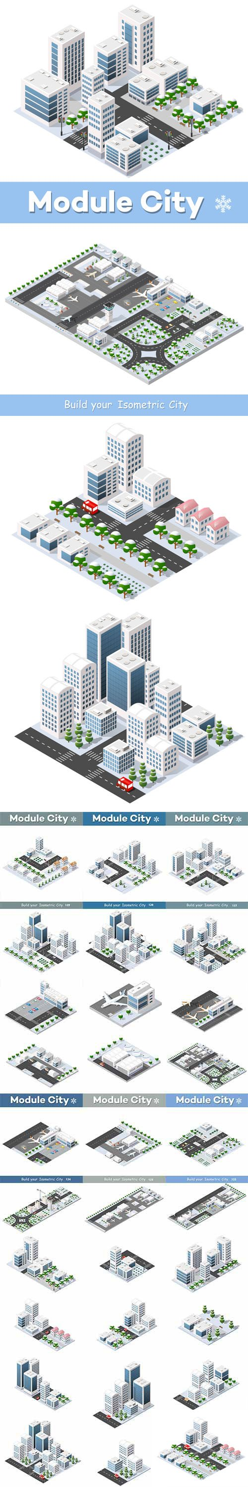 City Blocks in 3D - Vector Graphics - Build Your Isometric City !