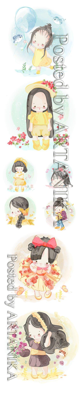 Hand Drawn Lovely Little Girl Illustration Set