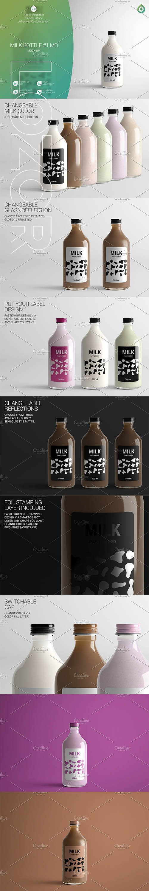 CreativeMarket - Milk Bottle MD Mock-Up #1 [V2.0] 4187988