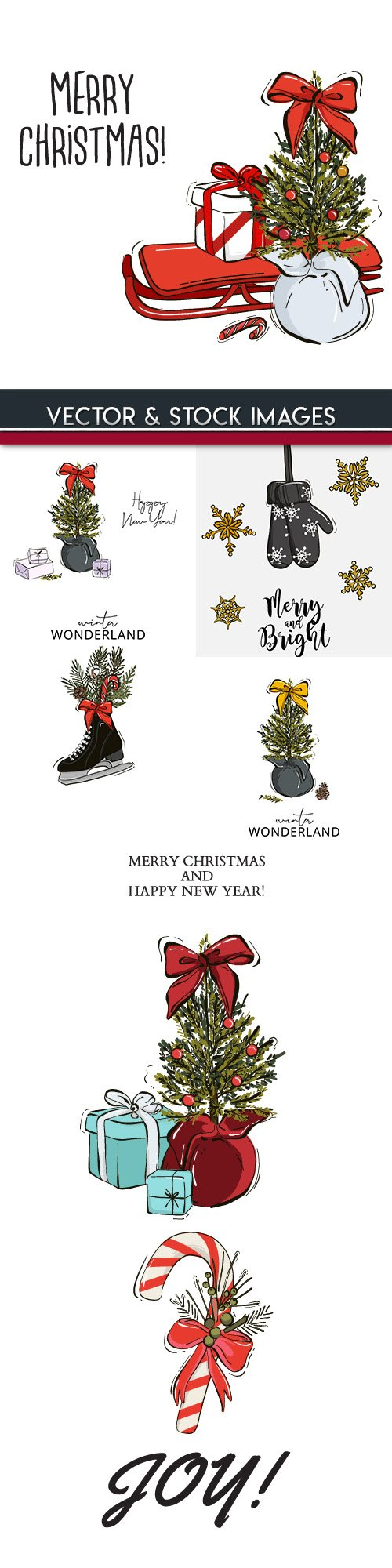 Merry Christmas and New Year background decorative 13