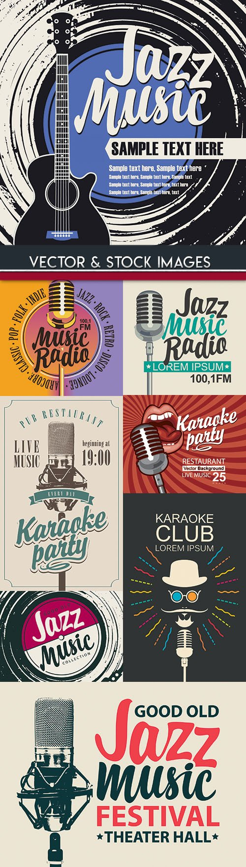 Music jazz festival and karaoke party design