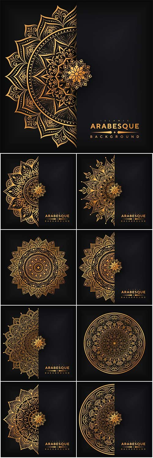 Ornamental mandala design background in gold color