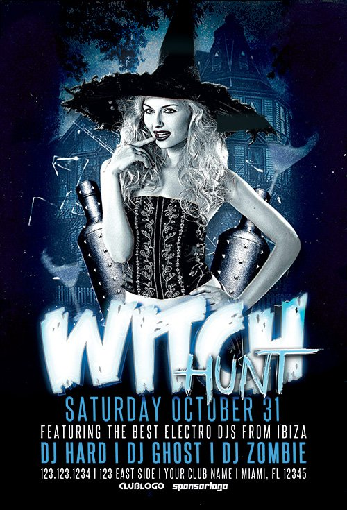 Witch Hunt Halloween Party Flyer Template