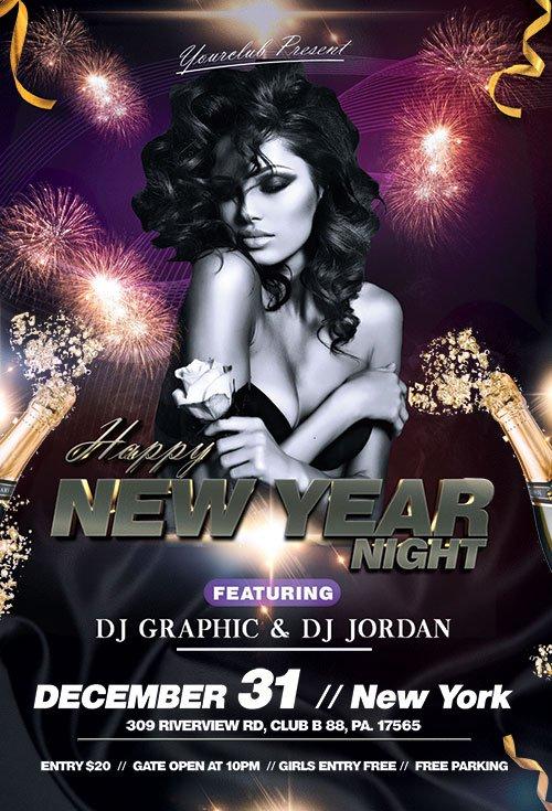 Happy New Year Night - Premium flyer psd template