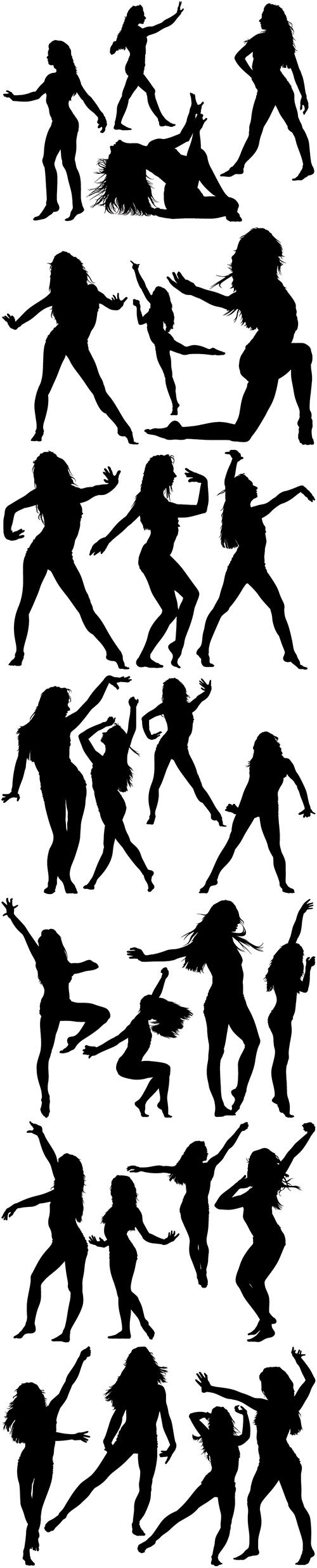 Silhouetted dancing young woman in various poses