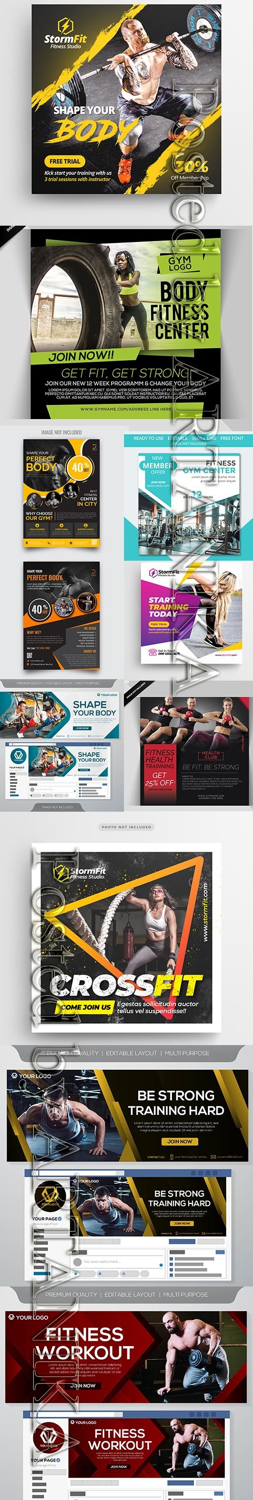 Modern Gym Flyer and Fitness Social Media Post Template Vol 10