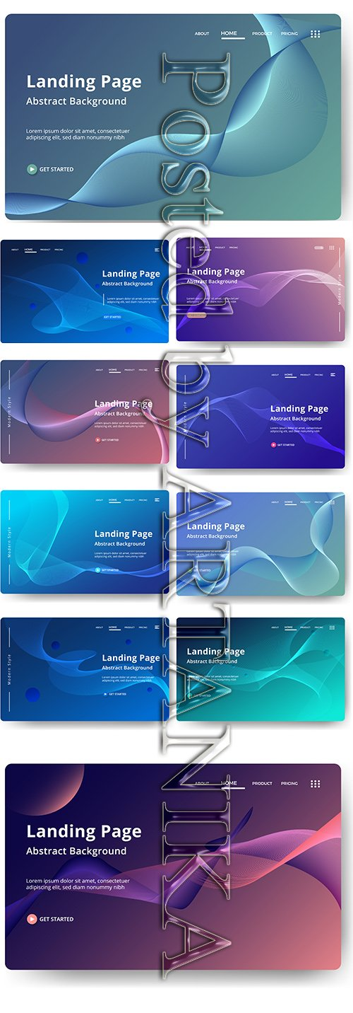 Abstract Vector Background Landing Pages Set