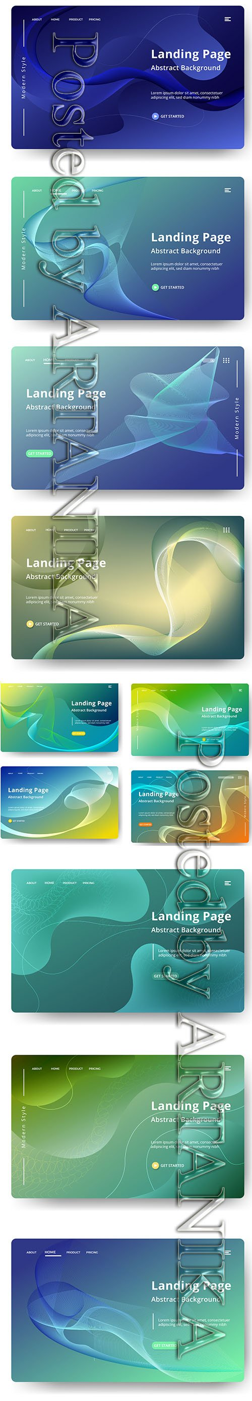 Abstractt Vector Background Landing Pages Set Vol 3